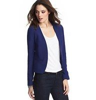 """Doubleweave Open Jacket - Styled collarless for pared-down polish, we're simply amazed at the sophisticated character of this doubleweave delight. Open front. Long sleeves. Two button cuffs. Welt pockets. Back vent. Lined. 21 1/4"""" long."""