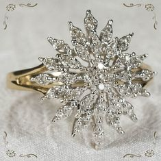 Star Burst Snowflake Diamond Ring 10k Gold .94ctw