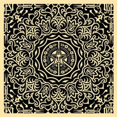 Middle Eastern Patterns | Obey-ornate-pattern-18x18blk