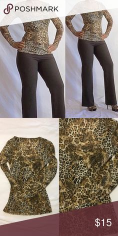 Leopard Print Top Leopard Print Top  In excellent condition  Very stretchy Only been worn once   Semi Sheer Tops Blouses