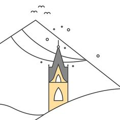 """Gothic style """"Campanile"""" of Serfaus. The steeple of Serfaus was build around 1500. For one of our current projects we made a vector illustration of it. We are excited to launch this project very soon! #illustration #wip #vector #drawing #birds #sky #webdesign #campanile #steeple church #design #dribbble #serfaus #gothic #huangartforever by http://ift.tt/1NVzAdx"""