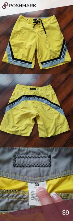 Men's Quicksilver swim trunks, size 30 Men's yellow Quicksilver swim trunks, size 30. Quiksilver Swim Swim Trunks
