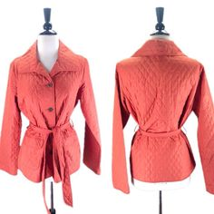 Rebecca Taylor Orange Lightweight Quilted Belted Button Up Jacket Size 4 $39 shipped, $37 bundled $350 retail   Pretty zig zag lining  Excellent preloved condition with no flaws!  Dry Clean  Measurements:  19 inches across bust  25 inches long  25.5 inch sleeve  15 inches shoulder seam to shoulder seam  To purchase leave comment with your email address for PayPal invoice. Must pay within 24 hours. Items shipped with delivery confirmation and I will send you a tracking number.
