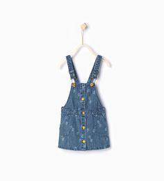 Image 1 of Star print denim pinafore dress from Zara