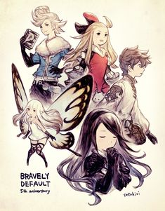 BRAVELY DEFAULT 5th aniversary! Fire Emblem, Manga, Japan Tattoo Design, Bravely Default, Video Game Art, Video Games, Final Fantasy Xiv, Animation, Character Design References