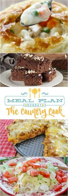 Featured Recipes at Meal Plan Sunday include: No-Fuss Stir Fry, Taco Bake, Homemade Chicken Pot Pie, Swiss Enchiladas, Double Fudge Coca Cola Cake, Chicken Philly Sandwiches, Fiesta Taco Bread