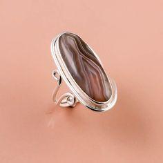 925 Sterling Silver Ring, Natural Gemstone Botswana Agate Handmade Jewelry 6 gm #Handmade #Modern