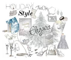 """Silver Sparkly Holiday Party"" by weddingtrends ❤ liked on Polyvore featuring interior, interiors, interior design, home, home decor, interior decorating, Harrods, Waterford, Mikasa and Bling Jewelry"