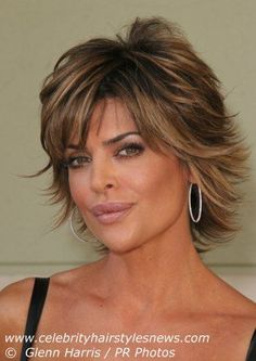 dium Length Layered Haircuts | Lisa Rinna with a short layered hairdo with textured ends that flip up