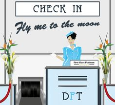 Airport Check In Vector Illustration