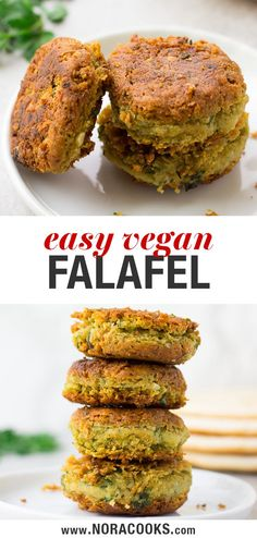 Easy Vegan Falafel using canned chickpeas. Baked or Pan Fried options! Easy Vegan Falafel using canned chickpeas. Baked or Pan Fried options! Vegan Foods, Vegan Dishes, Vegan Vegetarian, Veggie Recipes, Whole Food Recipes, Cooking Recipes, Meat Appetizers, Appetizer Recipes, Falafel Recipe Canned