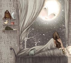 Once upon a holiday designed by Lisa Evans for Nordstrom #illustration #girl #moon #winter #lisa_evans