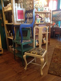 Recovered chair done in American Paint Company Navajo White.