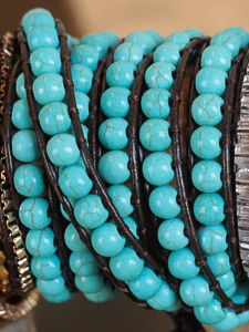 5 Strand Turquoise and Brown Leather Wrap Bracelet.