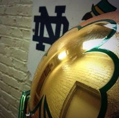 "Notre Dame helmet. Like the Irish?  Be sure to check out and ""LIKE"" my Facebook Page https://www.facebook.com/HereComestheIrish  Please be sure to upload and share any personal pictures of your Notre Dame experience with your fellow Irish fans!"