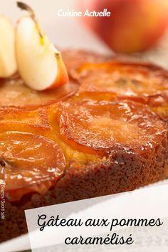 La recette du gâteau aux pommes caramélisé #cuisineactuelle #gateau #pomme #caramel Four, Biscuits, Apple Cakes, Cooking Recipes, Caramel Apple, Chocolates, Childhood, Crack Crackers, Cookies