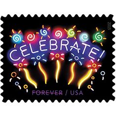 Good times call for good wishes, and the USPS gets in on the act with the Neon Celebrate! Forever® stamp, 1st issued in 2011 & reissued in 2015. Bringing an extra wish for happiness to anyone celebrating a special time, this stamp features a brilliantly colored design crafted out of neon & glass that adds a spark to greeting cards, invitations, and gift-bearing envelopes & packages.This stamp will add another congratulatory wish to the good times being acknowledged.