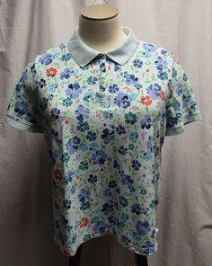 Womens Croft & Barrow Size 3X Blue Floral Polo Shirt Top Casual Flowers Collar #CroftBarrow #PoloShirt #Any