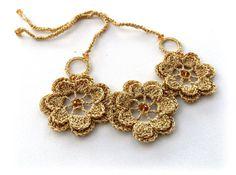 Crochet Necklace - Statement Necklace - Golden Necklace - Shimmer Necklace - Flower Necklace - Choker