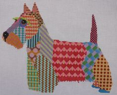 Pajamas and Chocolate Colorful Scottish Terrier Hand Painted Needlepoint Canvas  #PajamasandChocolate
