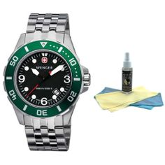 Wenger Men's Swiss Made Aquagraph 1000M Watch 72227 with 30ml Ultimate Watch Cleaning Kit