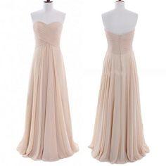 Champagne Bridesmaid Dress, Sweetheart Long Champagne Chiffon Bridesmaid Dress, Prom Dress on Etsy, $101.64 CAD