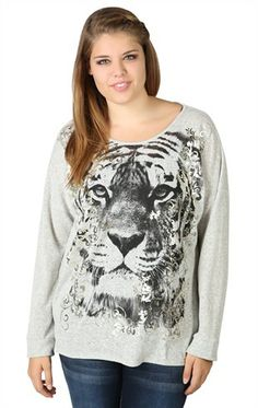 Deb Shops plus size long sleeve hacci high low tiger screen and foil scrolls   $18.67