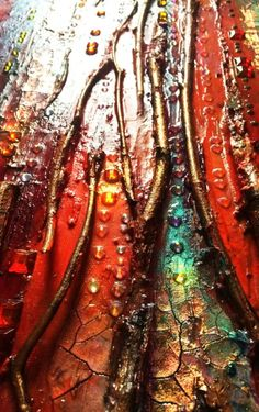 Texture Abstract Painting The Golden Gate, Red and Gold, crackles, big canvas, Sparkles, vertical canvas, twig, Mixed media, glass wall. - Image 1