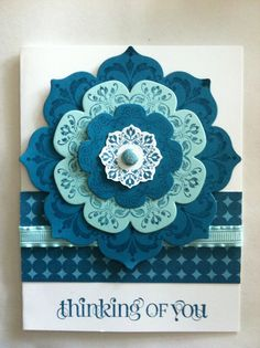 Island Indigo and Pool Party colors.  Floral framelits and Daydream Medallions.  Love it. card templat, pool parties, daydream medallions, floral framelit, birthdays, parti color, island indigo, cards, medallion card