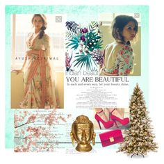 """""""Floral print saree"""" by aeshanad on Polyvore featuring Miu Miu and Rica"""