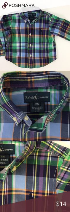 🌼 Ralph Lauren: Blue/Purple Plaid Button Down Ralph Lauren  Size: 18 Months  Blue/purple/green button up dress shirt in excellent condition. This item was only worn a few times and is in wonderful condition to be enjoyed again. Easily paired with many items and comfy for a little one to wear.   I will package perfectly and with love.  Non-smoking home. Ralph Lauren Shirts & Tops Button Down Shirts