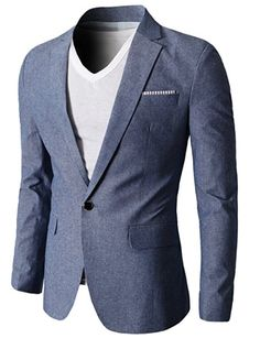 f3dcc6318bd H2H Mens Slim Fit Suits Casual One Button Flap Pockets Solid Linen Blazer  Jacket Blazer Fashion