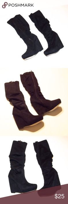 Vegan Boho slouchy faux suede wedge heel boots Never worn, these are a size 6 and they are super soft and slouchy. Shaft is 16 from center, 13 from the heel. Heel is 4.5 and hidden front platform is about .75 inch. Ruched with zipper. Great basic boots for cooler weather. Shoes Heeled Boots