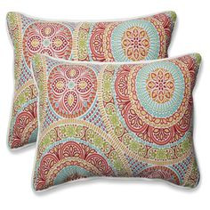 Set of 2 18.5 Delancey Jubilee Rectangular Throw Pillow, Green, Outdoor Cushion