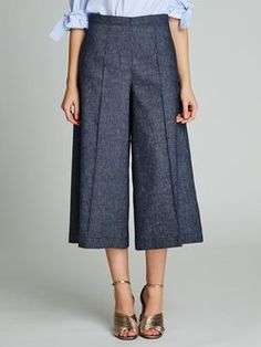 Dark Blue Simple A-line Wide Leg Pants
