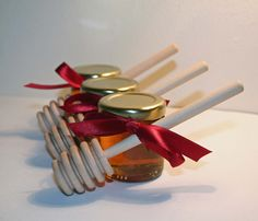 Honey Wedding Favour with Dipper -Christmas Stocking Filler or Hostess Gift £2.20