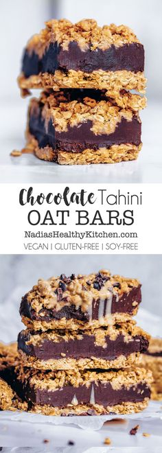 Chocolate Tahini Oat Bars #vegan #veganbars #vegandessert #chocolate #tahini #glutenfree #oats #oatflour #dairyfree #cardamom #middleeastern #breakfast #snack #video #healthy #treat #datesyrup #datenectar