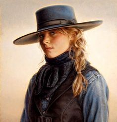 Carrie Ballantyne, California Cowgirl, oil, 8 x - Southwest Art Magazine Vintage Cowgirl, Cowgirl Hats, Cowboy And Cowgirl, Cowgirl Style, Cow Girl, Vaquera Sexy, Estilo Cowgirl, Cowboy Art, Cowboys And Indians
