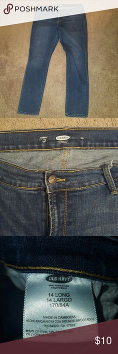 Old navy plus size jeans 14 LONG These jeans are 14 LONG. Straight leg. Old navy. Gently used. Smoke free home. (Boots are size 10 sold in my store separately) Old Navy Jeans Straight Leg