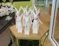 Stately ceramic bunnies.