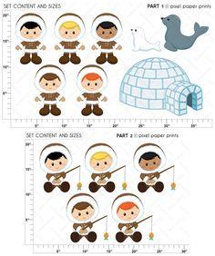 Little Eskimos Digital paper and clip art set от pixelpaperprints