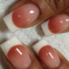 Tammy Taylor colored acrylic over tips... White acrylic at tip with three different pinks faded on nail bed..All freehand and NO DRILL USED.