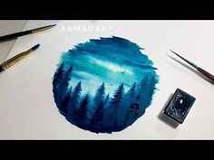 Simple Watercolor Forest Circle Tutorial for Beginners - YouTube