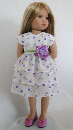 White Party dress for Kidz N Cats by dancingwithneedles on Etsy Red Hair Ribbon, Small Purple Flowers, Cat Doll, Period Outfit, Layered Skirt, Girl Doll Clothes, Summer Wardrobe, Girl Stuff, Jumpers