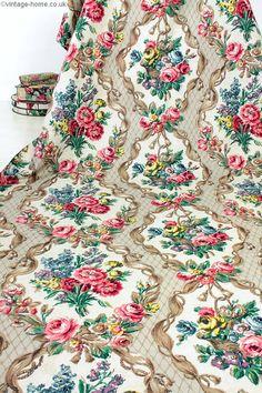 Vintage Home Shop - 1940s Rose Basket and Carnation Bouquet Linen Fabric: www.vintage-home.co.uk