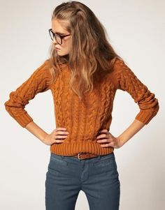 cable knit. cool....and shes the spitting image of my sis in law...