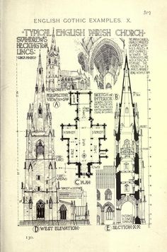 Typical English Parish Church A History of Architecture on the Comparative Method by Sir Banister Fletcher Classic Architecture, Architecture Drawings, Gothic Architecture, Historical Architecture, Amazing Architecture, Architecture Details, Interior Architecture, Cathedral Architecture, Religious Architecture