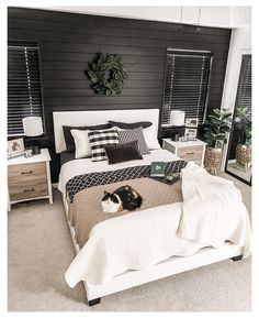 Black White And Grey Bedroom, Black Master Bedroom, Master Bedroom Makeover, Master Bedroom Design, Home Decor Bedroom, Bedroom Ideas, Master Bedroom Color Ideas, Master Bedroom Furniture Ideas, Black Accent Walls
