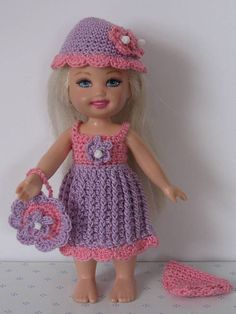 """Handmade Crocheted Dark Pink And Purple Spring Dress For 6"""" Kelly"""