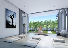 Indoor/outdoor Yoga Studio.  Nautique Lakefront Residences by Adi Development Group www.adidevelopments.com
